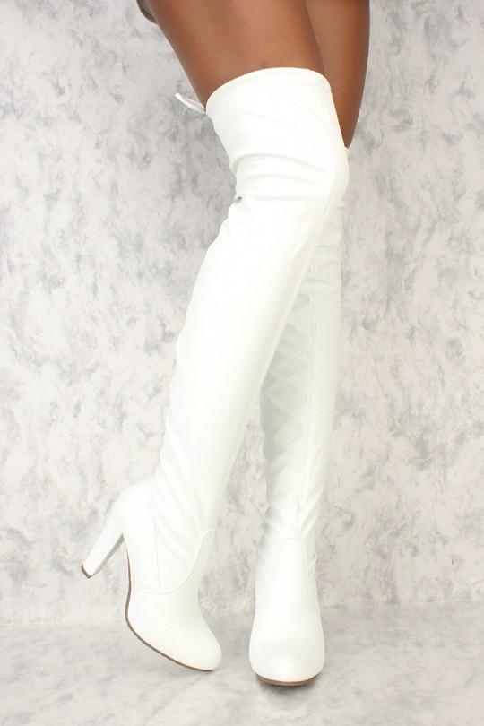 White Round Toe Chunky Ami Clubwear Thigh High Boots Faux .