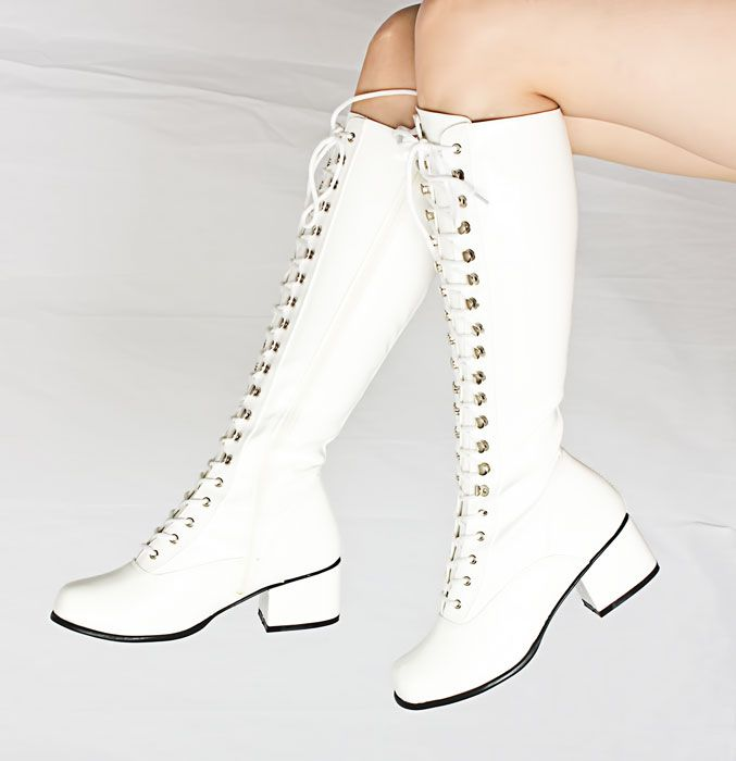 White chun-li style boots | White lace boots, White combat boots .