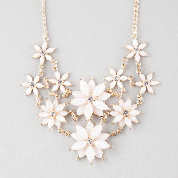 Full Tilt 2 Row Facet Flower Statement Necklace ($9.99) ❤ liked .