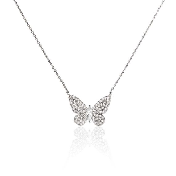 BX GLOW Signature Butterfly Necklace White Gold Necklace .