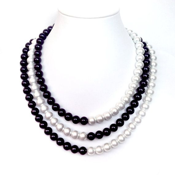 Black and White Pearl Necklace - 3 Strands - Silver Bar Clasp .