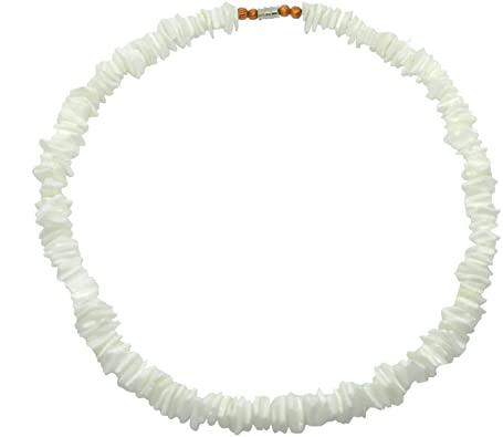 "Amazon.com: Hawaiian 16"" White Shell Necklace 1/4"" Width with ."