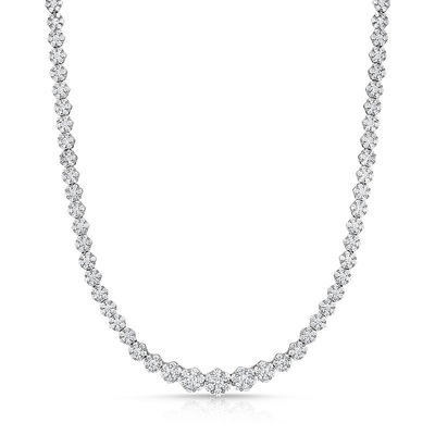 7 CT. T.W. Composite Diamond Tennis Necklace in 14K White Gold .