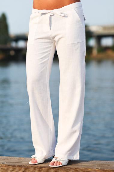 Linen Island Pants for Women, Drawstring Waist, Whi
