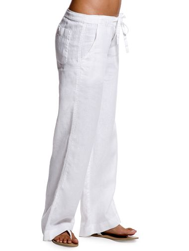 White relaxed linen pants for women | White linen pants outfit .