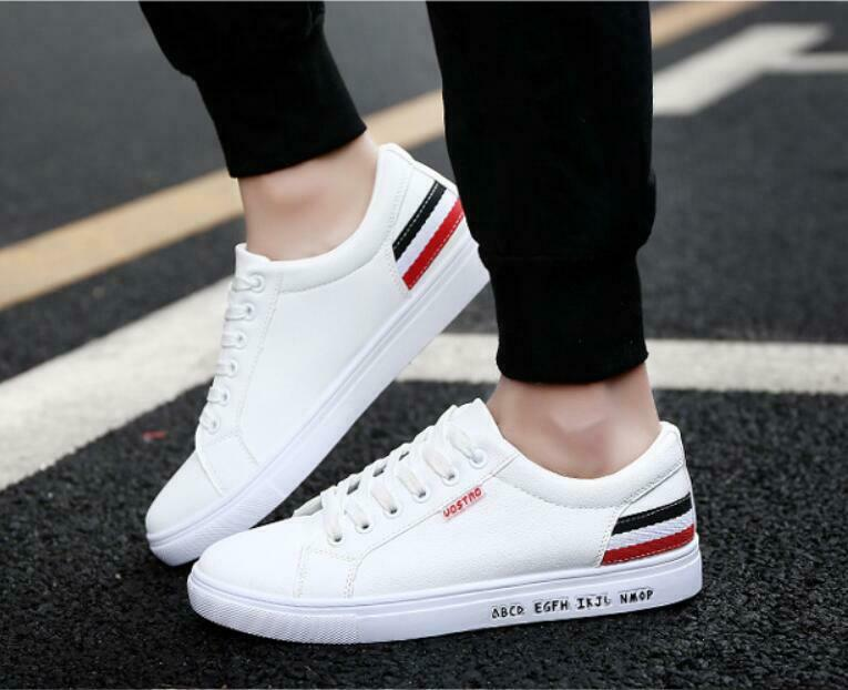 Fashion Mens leather Casual Shoes Sports Sneakers Walking Pure .