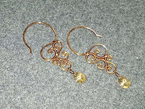 Wire earring vintage style with crystal - Handmade Jewelry Ideas .