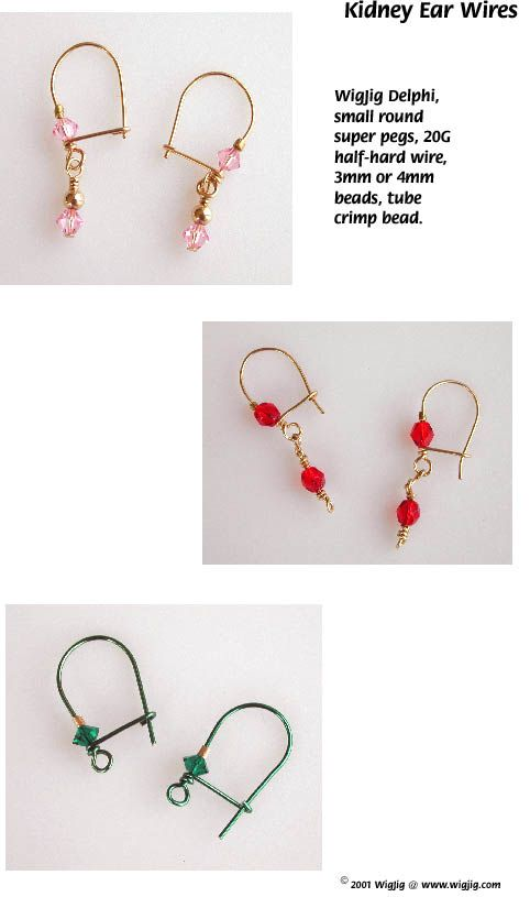 Instructions for making Kidney Ear Wire Earrings using jewelry .