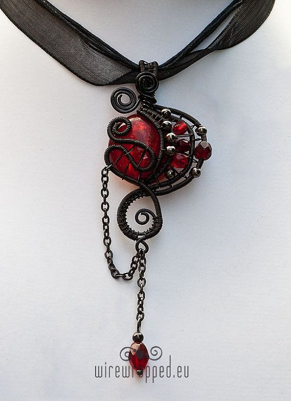Red and black gothic wire wrapped pendant | Diy wire jewelry .