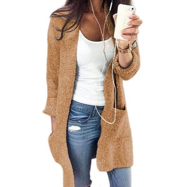 Puimentiua Fashion Solid Streetwear Women Cardigans With Pocket .