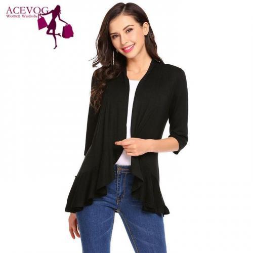ACEVOG Three Quarter Sleeves Women Cardigans Overcoats / TradePon