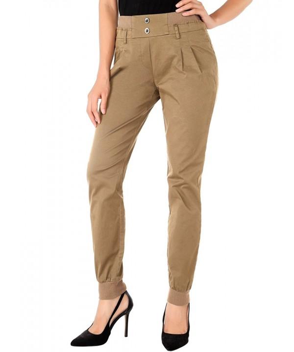 Slim Fit Womens Chino Pants Casual Twill Stretch Pant - Khaki .