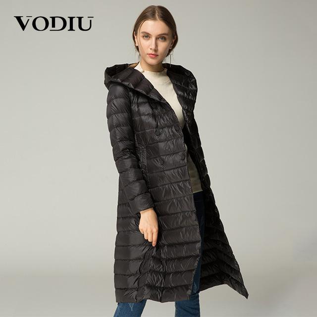 Vodiu Women Down Coat Thin Feather Parka Winter Long Down Jackets .