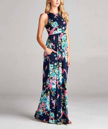 Navy & Teal Floral Racerback Maxi Dress - Women | Zuli