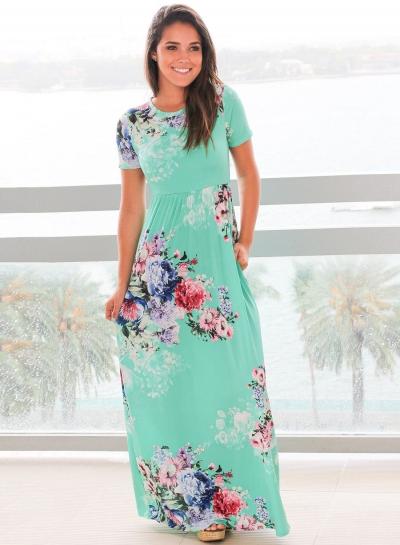 Women's Floral Print Round Neck Short Sleeve High Waist Maxi Dress .