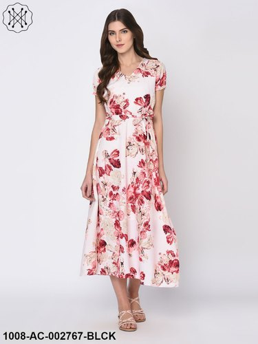 Cotton Floral Printed Off White Maxi Dress For Women, Rs 345 .