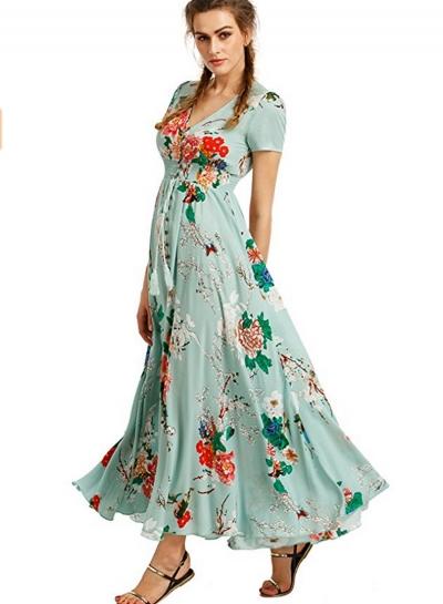 Women's Boho V Neck High Waist Slit Floral Maxi Dress - STYLESIMO.c