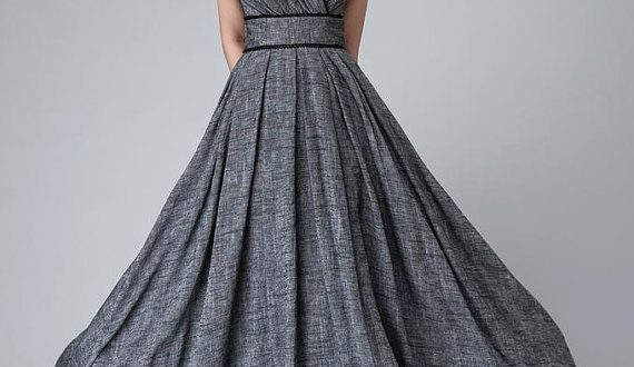 Retro empire waist maxi dress, Linen dress, Bridesmaid dress .