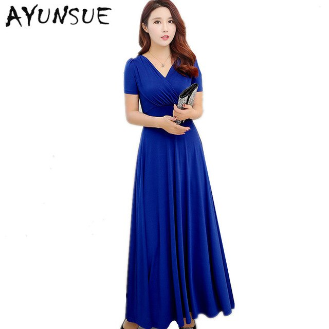 New Slim V neck Women Summer Dress 2020 Royal Blue Casual Dress .