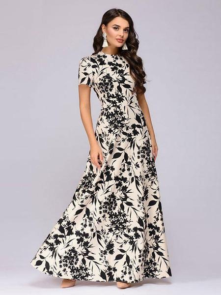 Women Maxi Dress Short Sleeve Printed Casual Dress - Power Day Sa