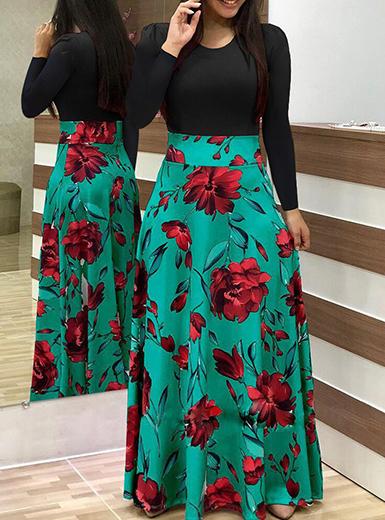 Women's Long Sleeve Maxi Dress - Floral Print / Black / Gre