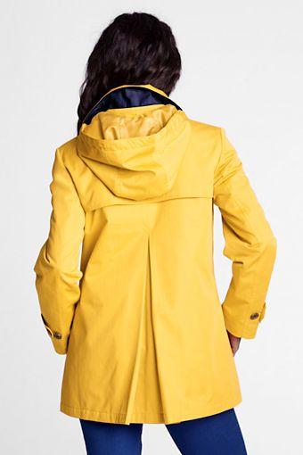 Women's Modern Rain Swing Parka from Lands' End. Classic yellow .