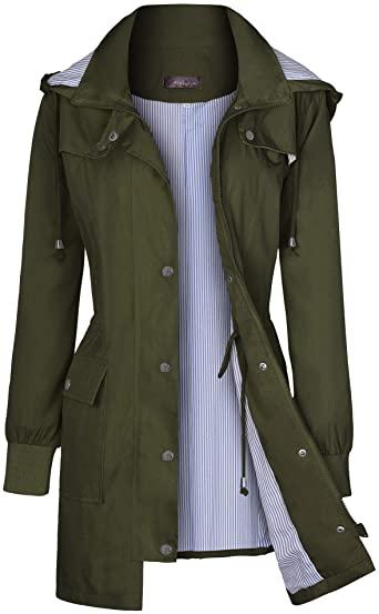 Amazon.com: Bloggerlove Women's Raincoats Windbreaker Rain Jacket .