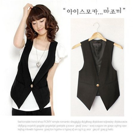 Women's High Quality Solid Black Cool Vests Summer Plus Size Suit .