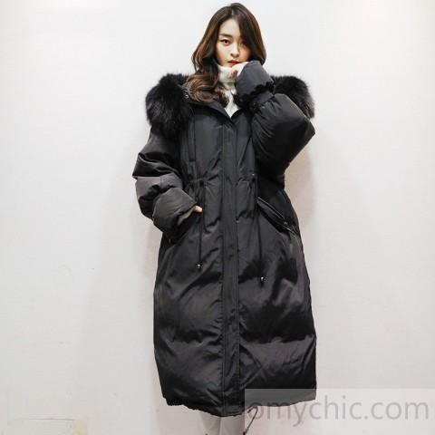 women black warm winter coat plus size faux fur collar hooded .