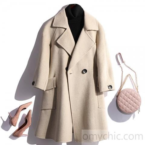 2019 beige Woolen Coats Women trendy plus size winter coat fall .
