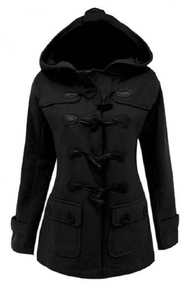 Women's Plus Size Long Sleeve Double Breasted Pea Coat Hoodie .