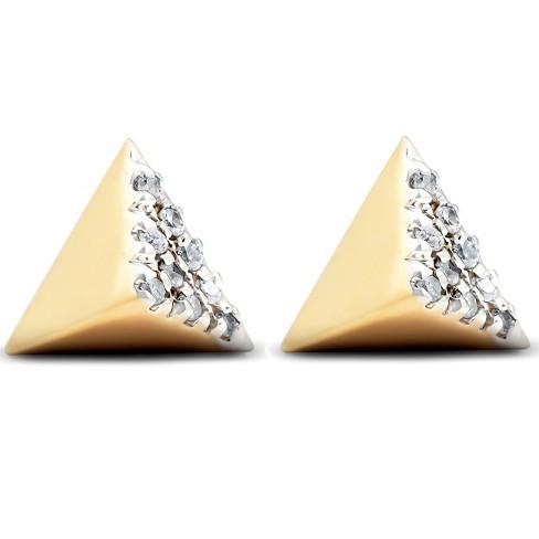 Pompeii3 14k Yellow Gold Diamond Cube Studs Pave Spike Triangle .