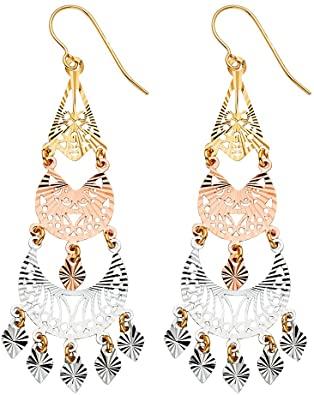 Amazon.com: Sonia Jewels 14k White Yellow And Rose Gold Filigree .