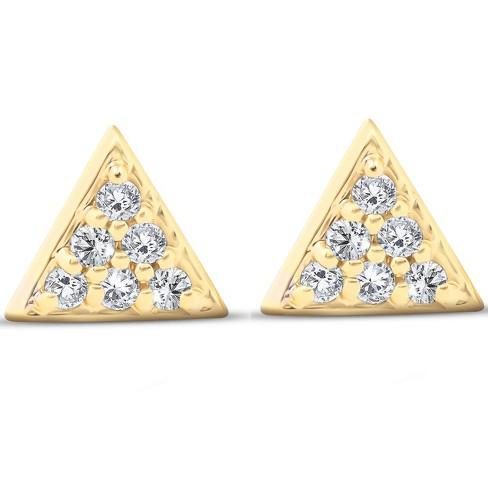 Pompeii3 14k Yellow Gold Triangle Pave .12Ct Diamond Delicate .