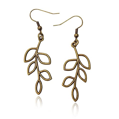Amazon.com: Bronze/Brass Tone Olive Tree Branch Leaf Earrings .