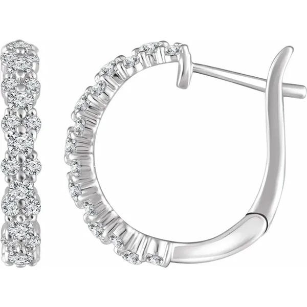 "Shop 1 1/2 cttw Diamond Hoops White Gold Womens Earrings 1"" Tall ."