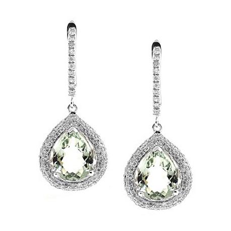 Womens Green Amethyst Diamond Earrings 14K White Gold 7.17