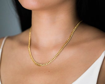 Thick Gold Chain Necklace / Gold Chain Statement Necklace / | Et