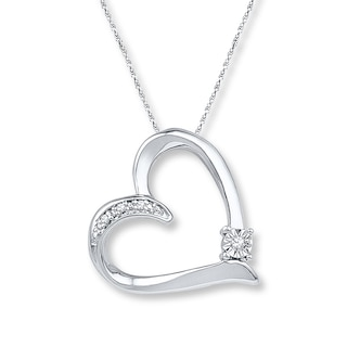 Heart Necklace Diamond Accents Sterling Silver | Womens Necklaces .
