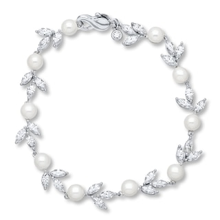 Cultured Pearls Cubic Zirconia Sterling Silver Bracelet | Womens .