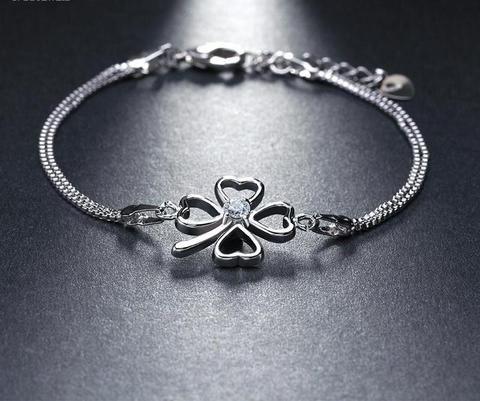 Women's Silver Bracelet with Clover Paved Austrian CZ | Silver .