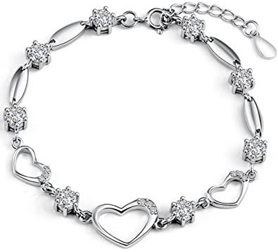 Amazon.com: Bracelet Women Heart Hand Chain Authentic CZ Crystal .
