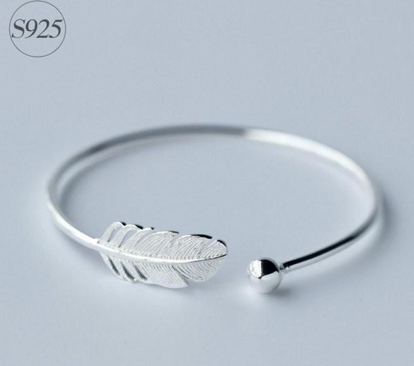 Wholesale Adjustable Leaf 925 Sterling Silver Women Bangle .