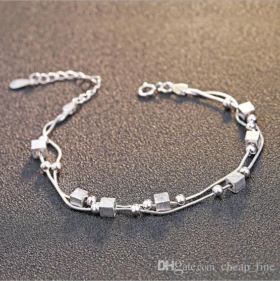 Fashion 925 Sterling Silver Bracelet Chain Bracelet Multi Layer .