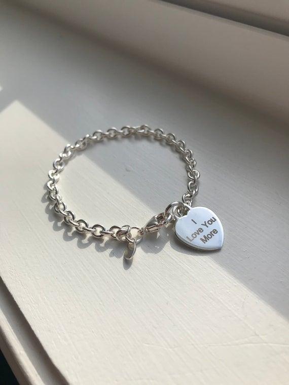 Silver Heart Charm Bracelet for Women Engravable bracelet | Et