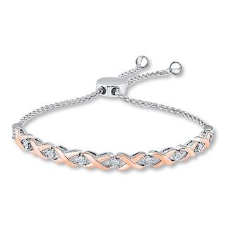 Bolo Bracelet Diamond Accents Sterling Silver/10K Gold | Womens .