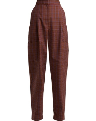 Deal Alert! 60% Off Tibi - Checked Twill Tapered Trousers - Womens .