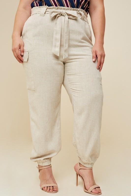 Oatmeal Plus Size Linen Paper-bag Tapered Trousers | Fashion .