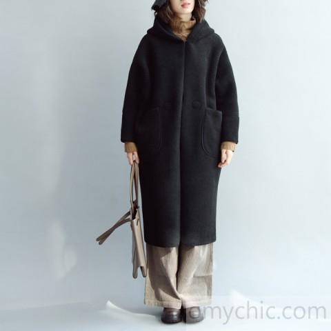 vintage black Wool Coat oversized hooded maxi coat vintage coa