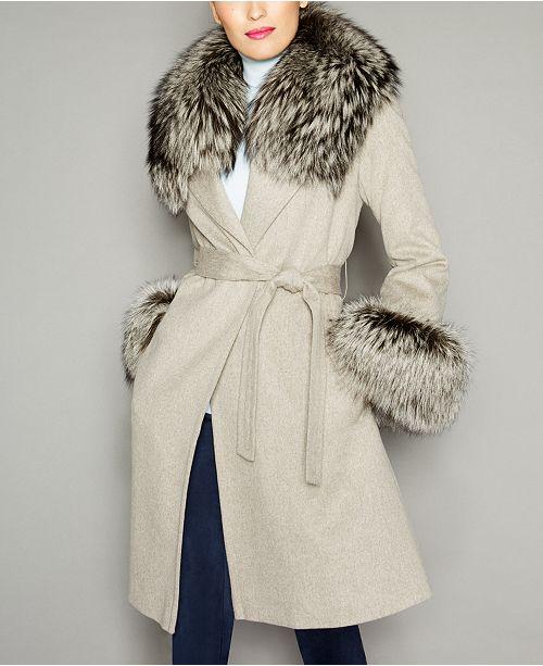 The Fur Vault Fox-Fur-Trim Wool Coat & Reviews - The Fur Vault .